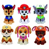 Ty Paw Patrol Beanie Babies - Set of 6! Marshall, Chase, Skye,
