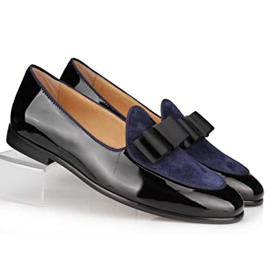 cc62c17f86f89 COOL TIRO Black Patent Leather + Blue Suede Loafers Men Slippers Bow Tie  Moccasins Business Flats