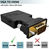 InfiZone VGA to HDMI Adapter Converter with Audio (Old PC to TV/Monitor with HDMI), Male VGA to HDMI Video Adapter for TV, Computer, Projector with Audio,Power Cable,Portable,VGA (D-Sub,15-pin)