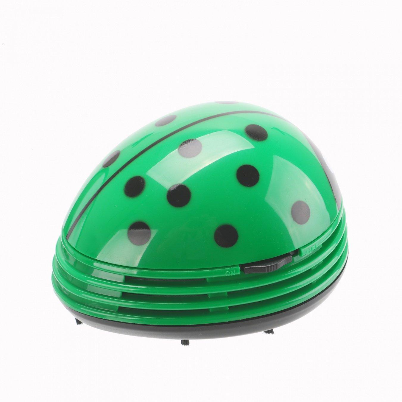 VOYEE Cute Portable Beetle Ladybug Cartoon Mini Desktop Vacuum Desk Dust Cleaner Green by VOYEE (Image #2)