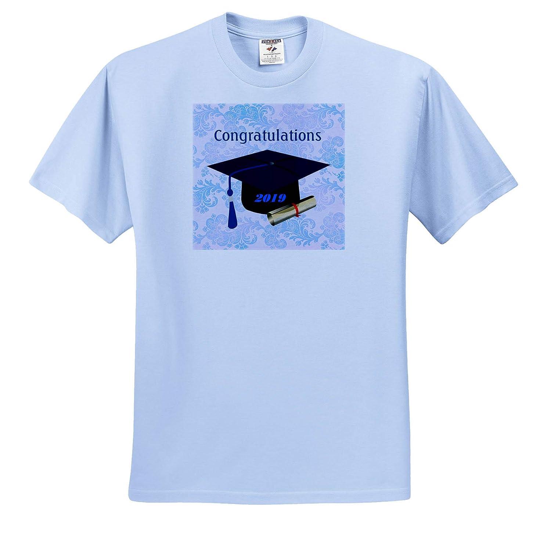 Graduation T-Shirts Image of Slate Blue Tassel Gold Diploma and Black Cap 3dRose Lens Art by Florene