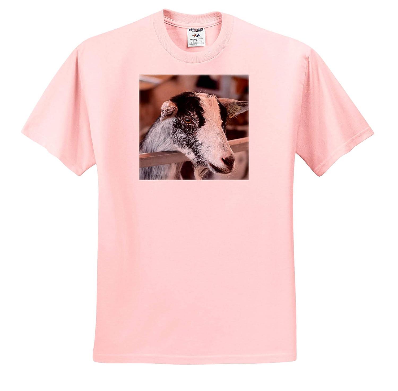 3dRose Susans Zoo Crew Animal Black and White Goat Head caprine T-Shirts