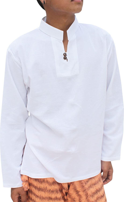 Raan Pah Muang Light Summer 100/% Cotton Chinese Collar Shirt Two Wood Buttons Longsleeve