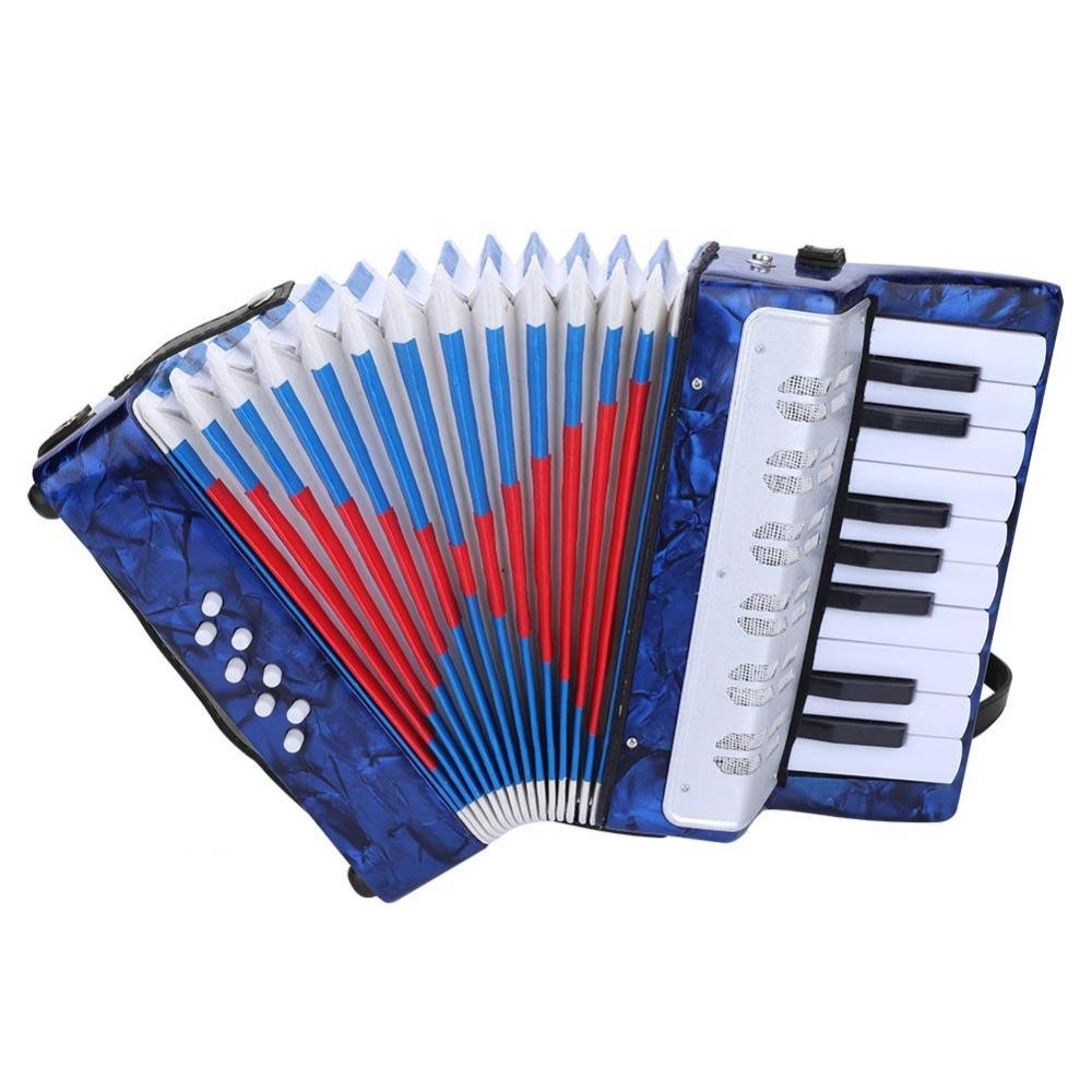 Accordion for kids Children, 17 Key 8 Bass Mini Small Piano Accordions Educational Musical Instrument Rhythm Toys for Amateur Beginners Students (Red, Blue, Green, Navy Blue)(Blue) by Vbestlife
