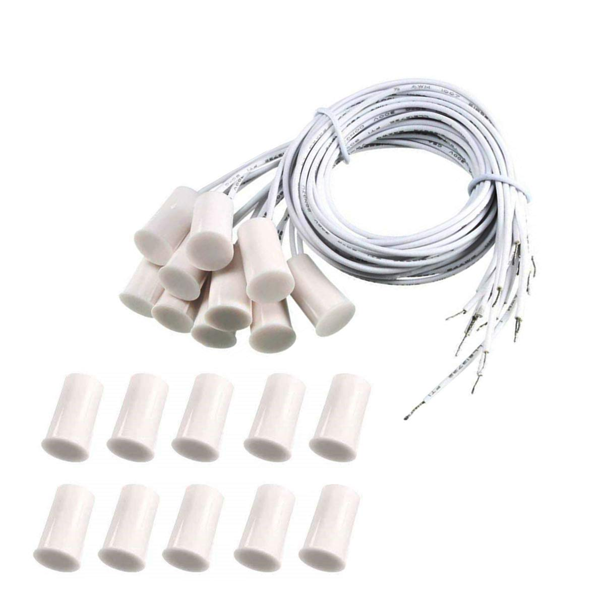 10 Pair RC-33 NC Recessed Wired Security Window Door Contact Sensor Alarm Magnetic Reed Switch White