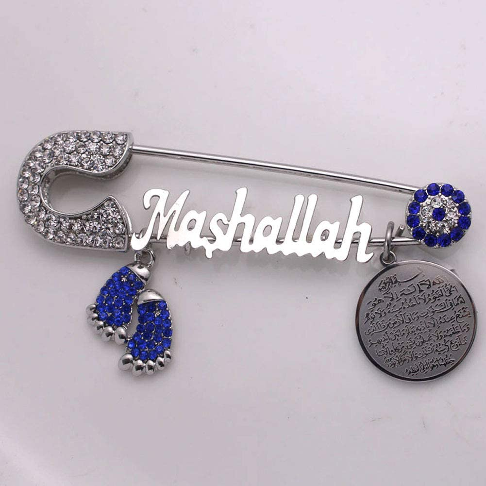 ZKDC AYATUL KURSI Mashallah Turkish Evil Eye Stainless Steel Brooch Islam Muslim Baby Pin