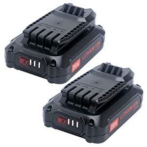 Biswaye 2 Pack 20V 2500mAh Replacement Battery for Craftsman V20 Lithium Ion Battery CMCB202 CMCB204, Compatible Craftsman V20 Cordless Drill Combo Kit CMCK200C2 CMCD700C1