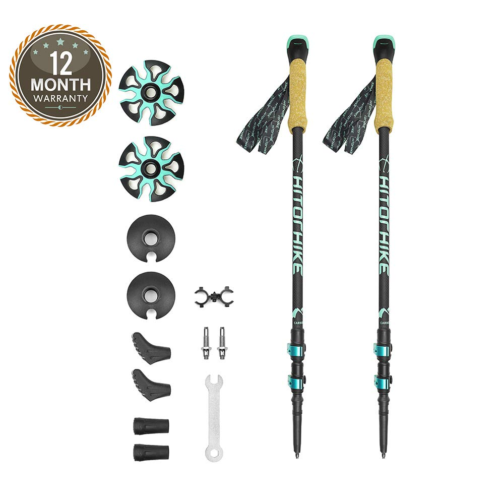 Hitorhike 3K Carbon Fiber Trekking Poles – Ultra Strong, Collapsible Walking Sticks with Premium EVA Cork Grip, Aluminum Quick Locks, Skin Strap, Terrain Accessories and Carry Bag (2 Poles)