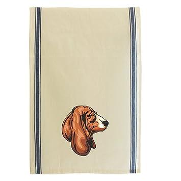 Basset Hound cabeza algodón Retro rayas plato toalla de cocina: Amazon.es: Hogar