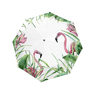 Compact Travel Umbrella Auto Open Close Handle Windproof Lightweight with Flamingos The Greenery for Women,Girls and Kids