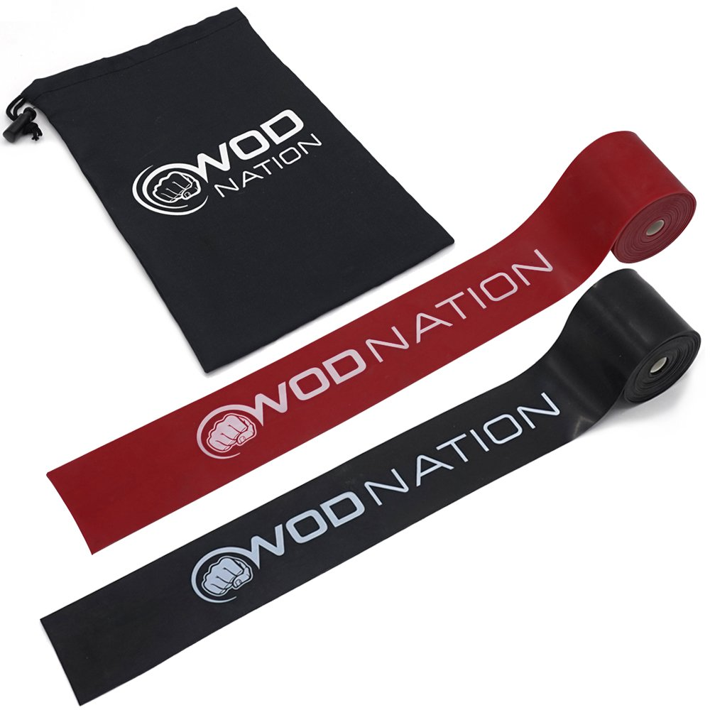 WOD Nation Muscle Floss Bands Recovery Band for Tack and Flossing Sore Muscles and Increasing Mobility - Stretch Band Includes Carrying Case (1 Black & 1 Red) by WOD Nation