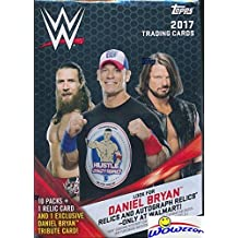2017 Topps WWE Wrestling HUGE EXCLUSIVE Factory Sealed Retail Box with 10 Packs and WWE RELIC Card! Look for Cards, Autographs & Relics of Jon Cena, Sting, Ric Flair, Triple H & Many More! WOWZZER
