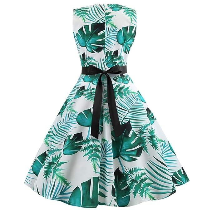 Women Dress Godathe Women Retro Print Bodycon Sleeveless Evening Party Ball Swing Dress S-2XL at Amazon Womens Clothing store: