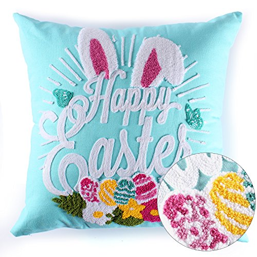 Cassiel Home Easter Pillow Covers Easter Decorations Happy Easter Chain Towel Embroidery Gift For Spring Square Decorative Throw Pillow Case Cushion Cover 18x18 Inch, Teal
