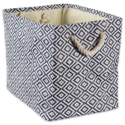 "DII Woven Paper Storage Basket or Bin, Collapsible & Convenient Home Organization Solution for Office, Bedroom, Closet, Toys, & Laundry (Small - 11x10x9""), Nautical Blue Geo Diamond"