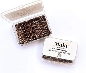 Maia Accessories Bobby pins marrón - horquillas para el pelo para las mujeres 200PC 5CM/2 pulgadas agarres de pelo para las mujeres kirby agarres de metal clips para el pelo