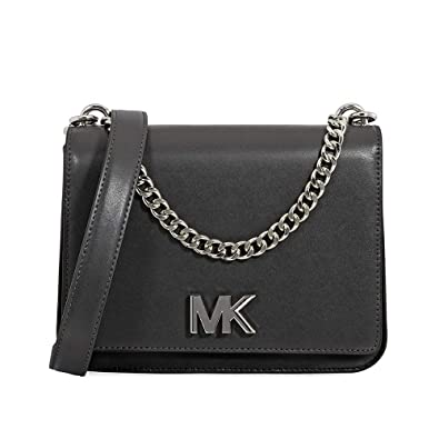 f8aa811fe7e7 Michael Kors Mott Large Chain Swag Shoulder Bag King Leather - Charcoal  Multi