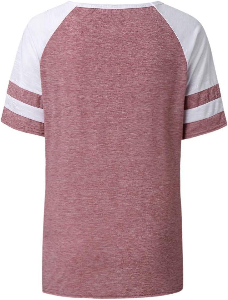 Einzigartiges Oberteile Sommer Kontrastfarbig Bluse Tops SatinGold Kurzarm T-shirt Musiknote Herz Gedruckt f/ür Damen mit Gepunktet