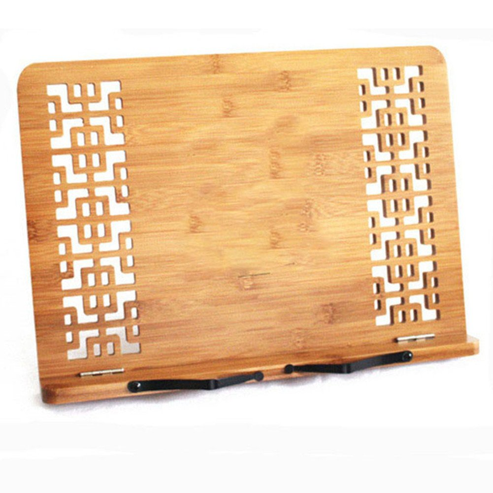 Book Stand Holder & Reading Rest, HomeYoo BamBoo Cookbook Cook Book Holder, iPad & Tablet Holder for Kitchen,Home and Office (Bamboo)