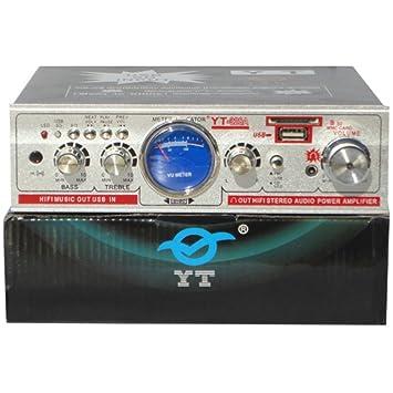 MINI AMPLIFICADOR CASA ES COCHE 12 - 220 VOLT CON ENTRADAS RCA AUX Y TOMADO USB