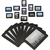 "Magnetic Picture Frame, Photo Collage for Refrigerator, Magnet Board Decor, Black, Holds 4x6"", 3.5x5"", 3x4"", 2.5x3.5"" Photos, 20 Pack"