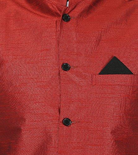 Gilet India Manica Rosso Meno Nehru Uomo Seta Jacket Clothing Tradizionale Maple nHT8Zzw