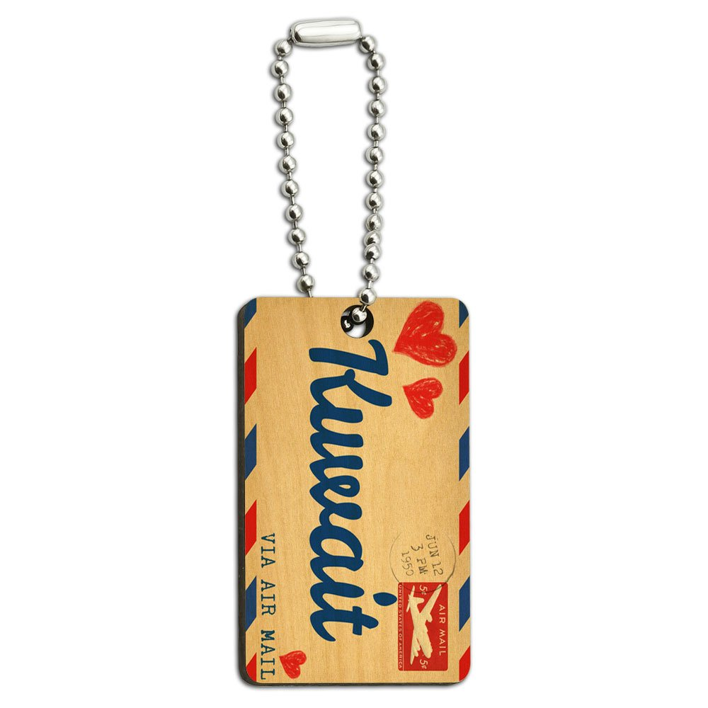 Air Mail Postcard Love for Kuwait Wood Wooden Rectangle Key Chain