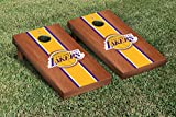 Los Angeles LA Lakers NBA Basketball Cornhole Game Set Rosewood Stained Stripe Version