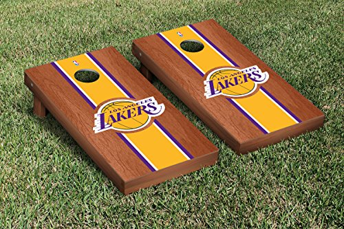 Los Angeles LA Lakers NBA Basketball Cornhole Game Set Rosewood Stained Stripe Version by Victory Tailgate