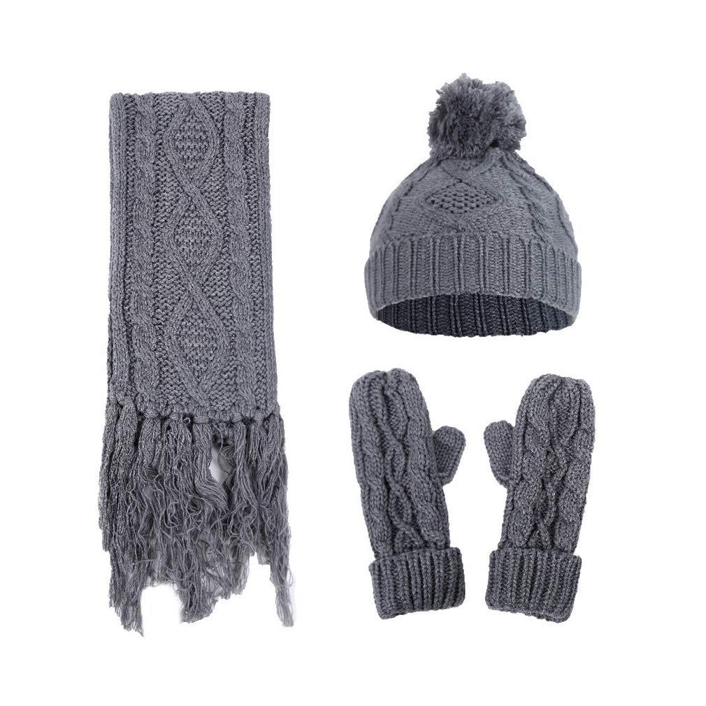 Yinew Hat Scarves Gloves Set Diamond-shaped Twist Wool Hat Scarf Gloves Three-piece Knitted Woolen Three-piece Winter Fall Warm Set,Khaki