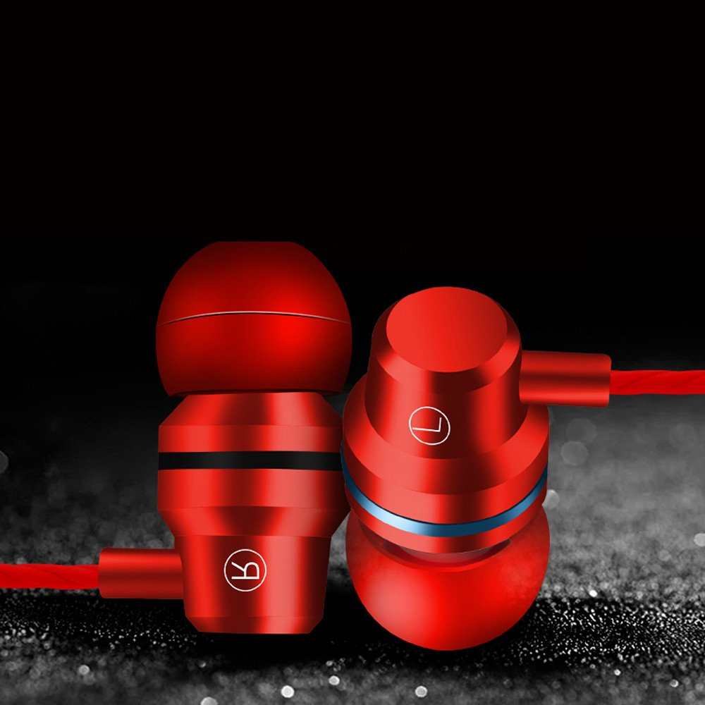 KaiCran New Metal Stereo Headphone Bass Earphone Sport Headset Hands Free Earbuds With Mic (Red) by KaiCran (Image #3)