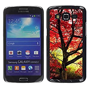 Be Good Phone Accessory // Dura Cáscara cubierta Protectora Caso Carcasa Funda de Protección para Samsung Galaxy Grand 2 SM-G7102 SM-G7105 // Red maple leaves