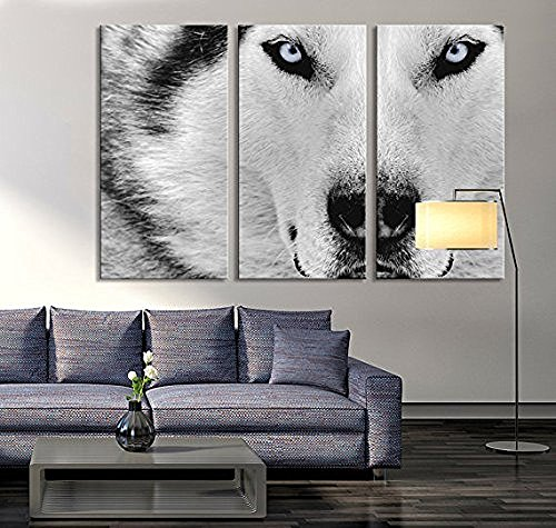 Modern Canvas Print Wall Art 16x32inchx3pcs Black And White Wolf Eyes Full Of Murderous Print On Canvas Giclee Canvas Decor For Home And Office 3 Pice Animal Framed Painting Easy To Hang