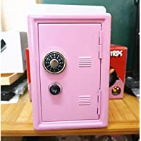 D DOLITY 18cm Table Metal Piggy Bank Safe Coin Money Saving Box Case Kids Gift Pink