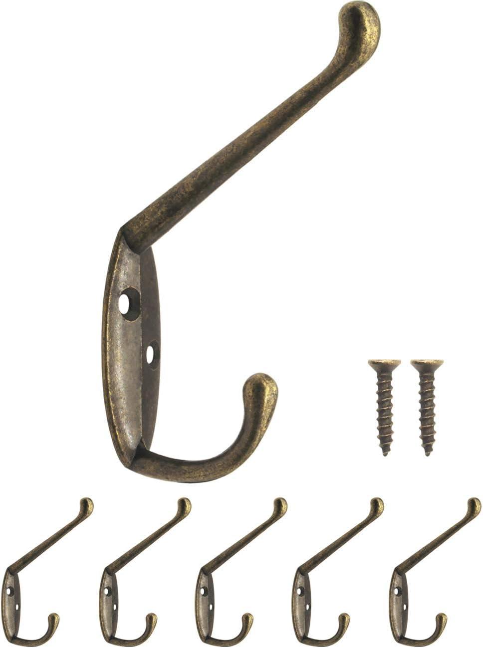 Fuxxer – Perchero clásico, doble gancho, gancho de hierro, gancho de metal, diseño de hierro fundido, vintage rústico retro, 85 x 55 mm, juego de 5, bronce