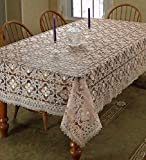 Violet Linen Chateau Embroidered Vintage Lace Design Oblong/Rectangle Tablecloth, 70'' x 140'', Cream
