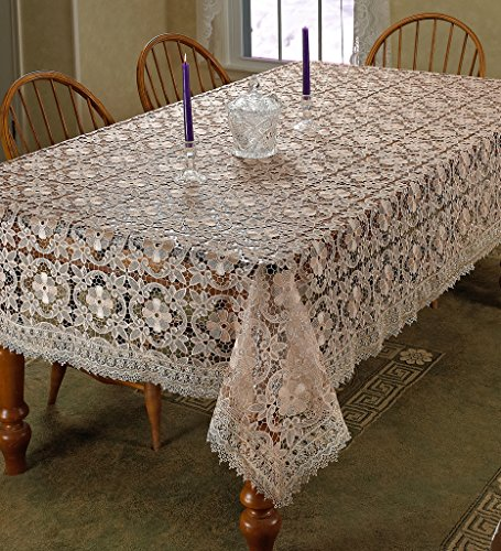 Violet Linen Chateau Embroidered Vintage Lace Design Oblong/Rectangle Tablecloth, 70'' x 140'', Cream by Violet Linen