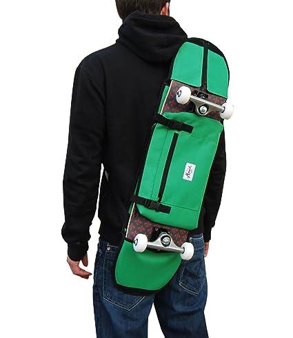 Bolsa o mochila de deporte para monopatin skate skateboard convertible color verde para transportar el patin ...