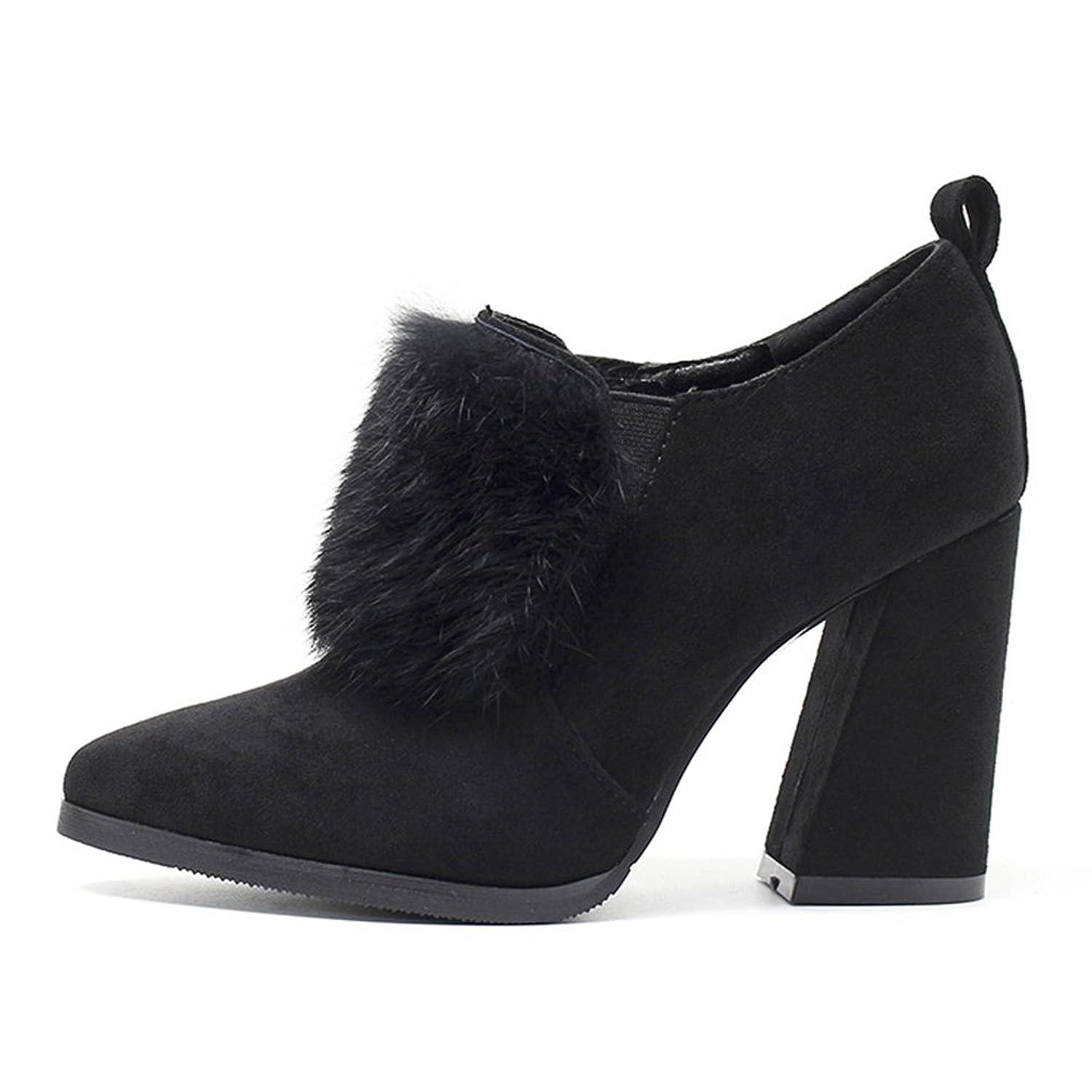 Damen Stiefel Blockabsatz Künstliches Haar Gummilitze Spitze Zehen Abriebfest Gemütlich Elegant Herbst Winter High-Heel Schuhe Schwarz 39 EU -