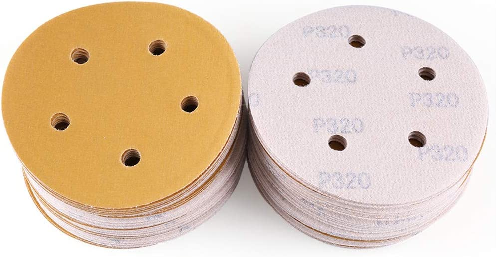 100PCS 60 80 120 180 220 320 400 600 800 1000 Grit Assorted Sandpaper by LotFancy 5 Inch 5 Holes Sanding Discs Hook and Loop Random Orbital Sander Round Sand Paper