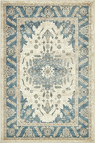 Cheap Luxury Vintage Persian Design Heriz Rug Cream 4′ x 6′ St.George Collection Area Rugs