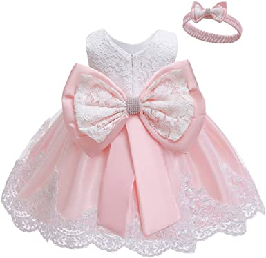 Baby Girls Tutu Tulle Dress Lace Princess Party Bow Flower Dress Wedding Dresses