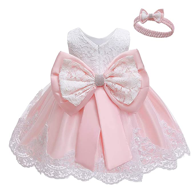 Lzh Baby Dress Bowknot Flower Dresses Lace Pageant Party Wedding Flower Girl Tutu Gown