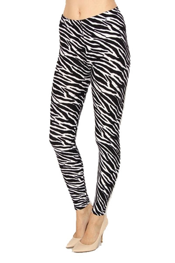 Regular Size Printed Brushed Leggings (Zebra Animal Print)