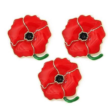 Amosfun 3PCS Poppy Flower Brooch Enamel Lapel Pin Red Badge Remembrance Memorial Day Christmas