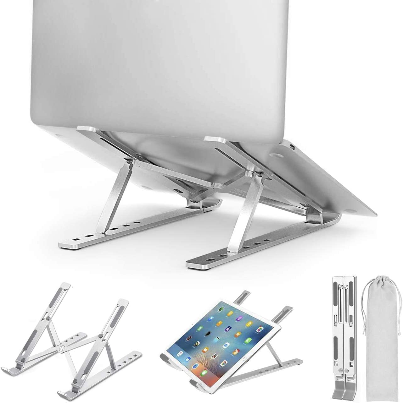 Laptop Stand, Adjustable Aluminum Alloy Laptop Holder, Ergonomic Foldable Portable Desk Laptop Stands with Non-Slip Mat, Compatible with 10-15.6 Inch MacBook, Laptops, Notebook