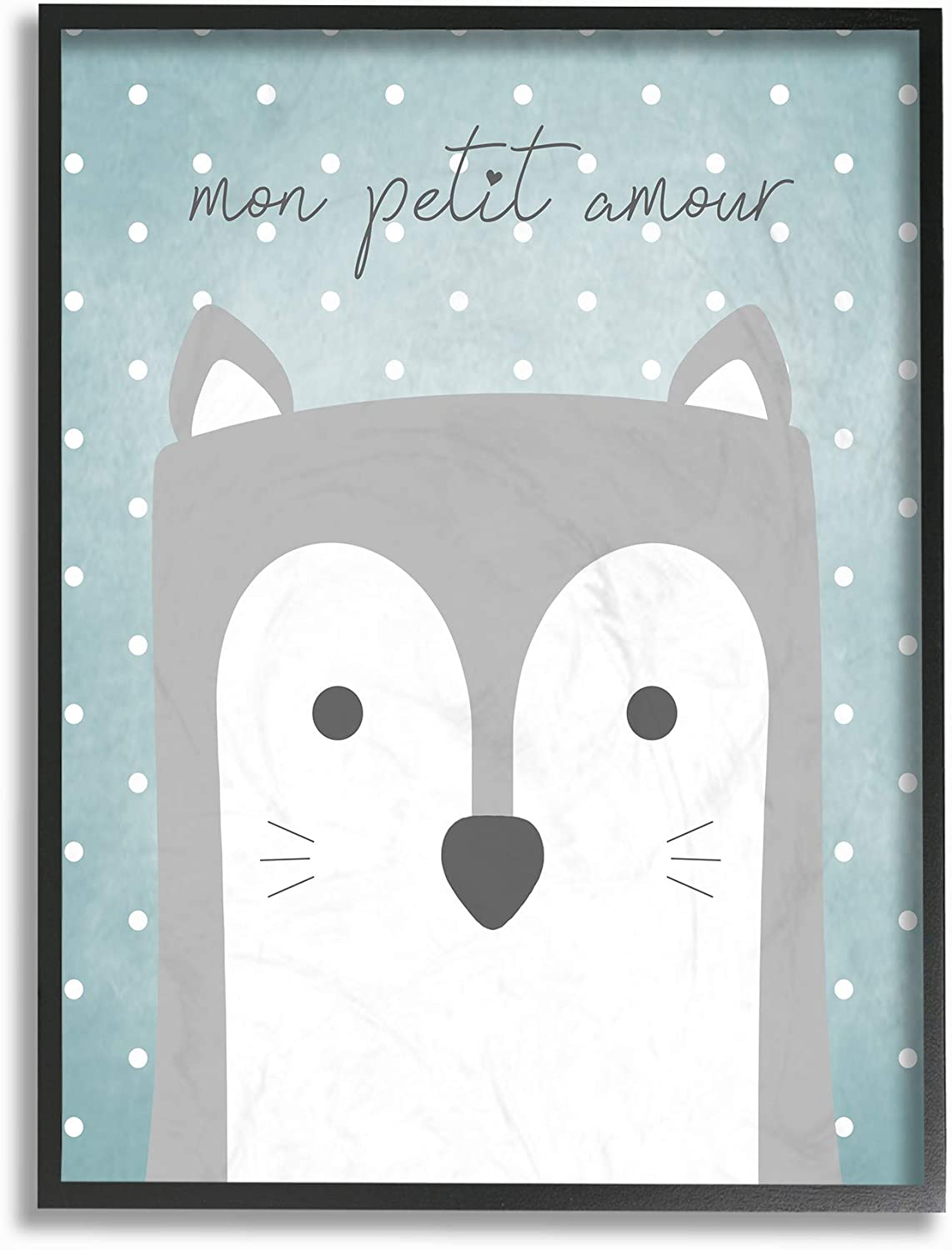 The Kids Room by Stupell Mon Petit Amour Grey Fox with Blue Polka dots Wall Plaque Art 10 x 15 Multi-Color Stupell Industries brp-2357/_wd/_10x15