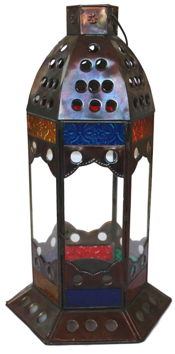 Bali Thai Imports Handmade Metal and Glass Tabletop Candle Lantern