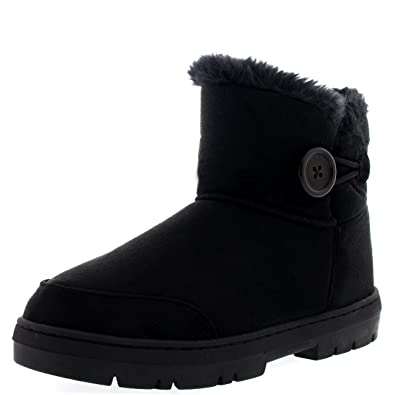 Amazon.com | Womens Button Mini Fur Lined Warm Shoes Winter Flat