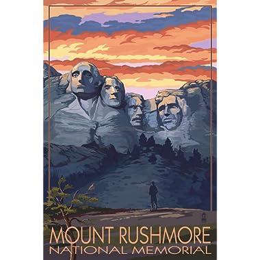 Mount Rushmore National Memorial, South Dakota - Sunset View (12x18 Art Print, Wall Decor Travel Poster)